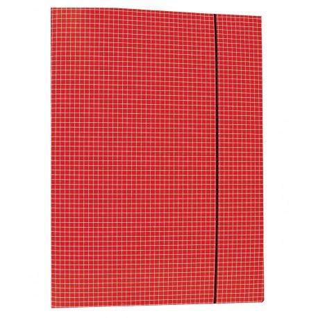Teczki z gumką prostą, wzór w kratkę - czerwona