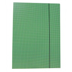 Teczki z gumką prostą, wzór w kratkę - zielona